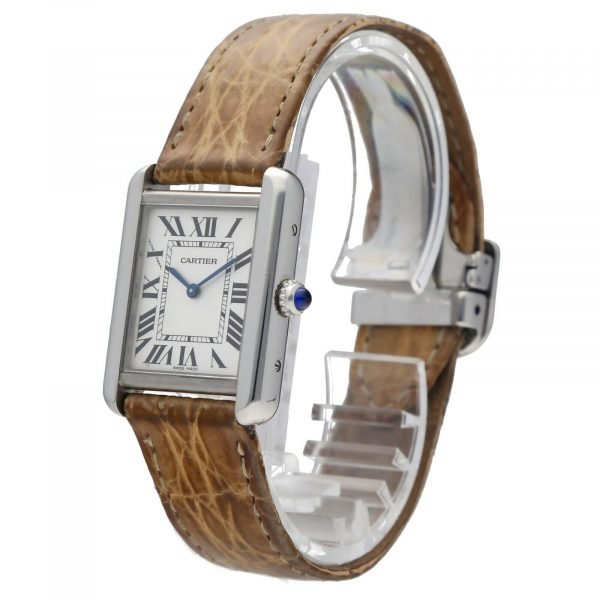 Cartier Tank Solo 2716 24mm x 30mm Stainless Steel Leather Quartz Ladies Watch 114559180534 2