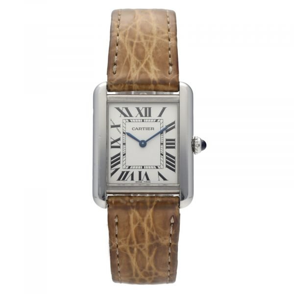 Cartier Tank Solo 2716 24mm x 30mm Stainless Steel Leather Quartz Ladies Watch 114559180534