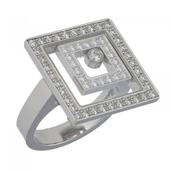 Chopard 825977 0 18k White Gold 750 Happy Spirit Diamonds Womens Ring Size 7 114622411894