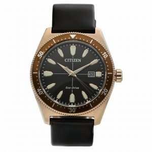 Citizen Eco Drive Brycen AW1593 06X Rose Gold 43mm Leather Solar Mens Watch 114507089794