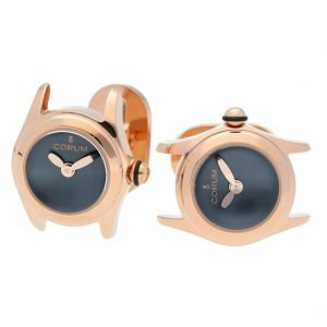 Corum Bubble Mini L13703873 Rose Gold Blue Dial Polished Round Mens Cufflinks 114340634784