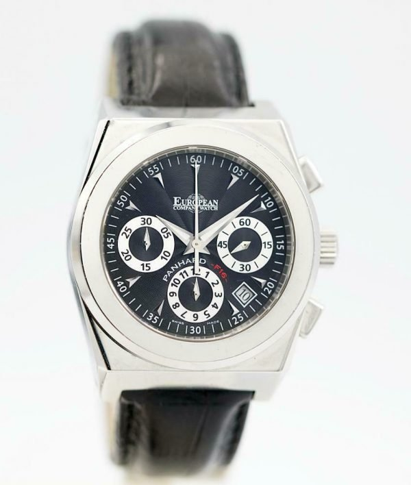 ECW European Company Panhard F16 Black Dial Leather 40mm Automatic Mens Watch 114015922874