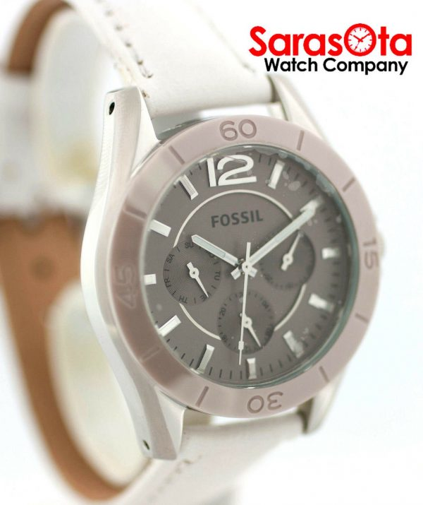 Fossil CE1065 DayDate Stainless Steel White Leather Quartz Dress Womens Watch 122009129144 3