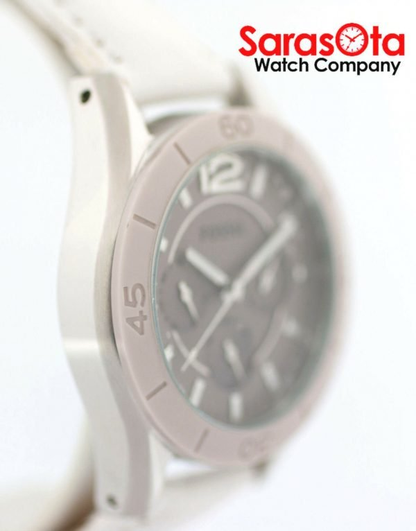 Fossil CE1065 DayDate Stainless Steel White Leather Quartz Dress Womens Watch 122009129144 4