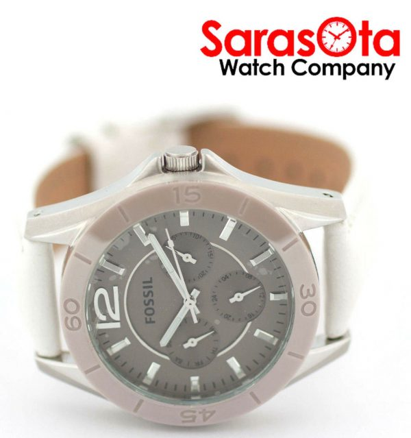 Fossil CE1065 DayDate Stainless Steel White Leather Quartz Dress Womens Watch 122009129144 6