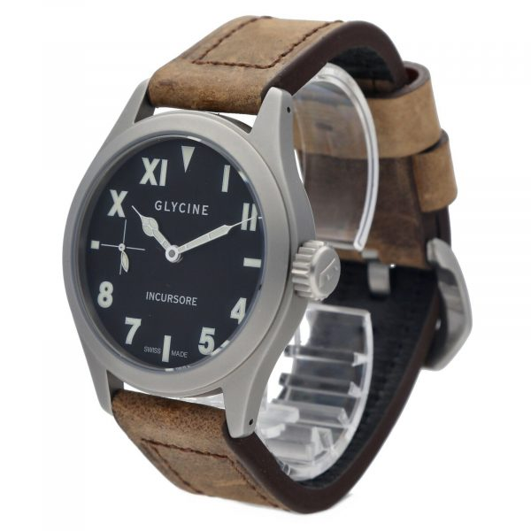 Glycine Incursore 3762 Stainless Steel 44mm Leather Manual Wind Mens Watch 133604964074 2
