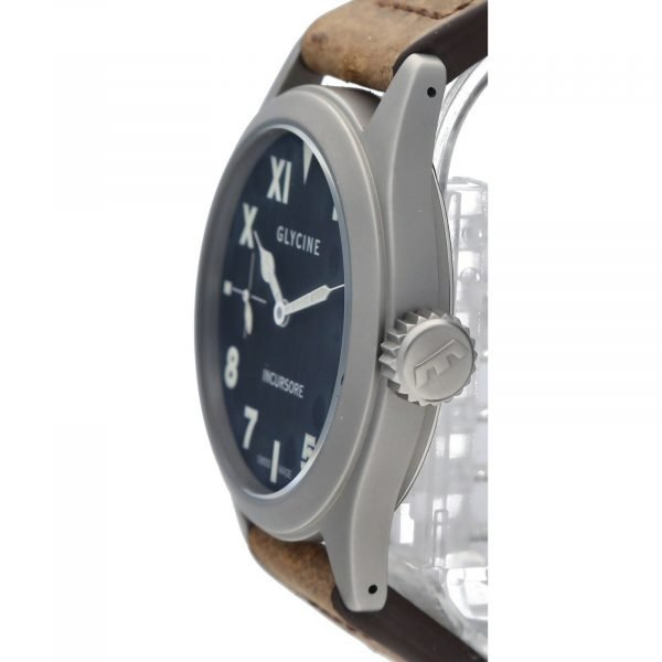 Glycine Incursore 3762 Stainless Steel 44mm Leather Manual Wind Mens Watch 133604964074 3