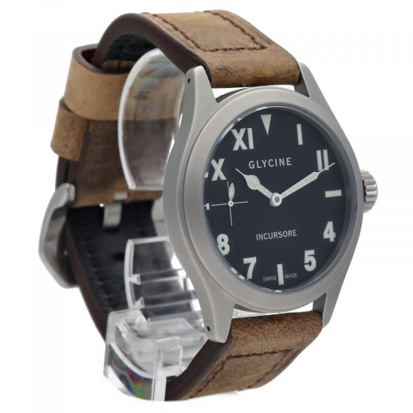 Glycine Incursore 3762 Stainless Steel 44mm Leather Manual Wind Mens Watch 133604964074 5