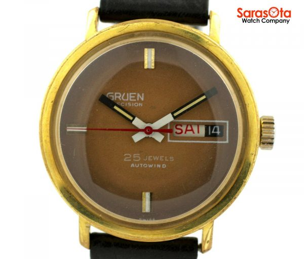 Gruen Precision 25 Jewels Automatic Gold Plated Steel Case Leather Mens Watch 124124942804 2