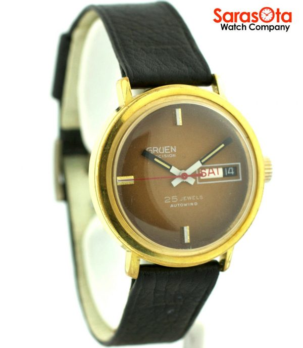Gruen Precision 25 Jewels Automatic Gold Plated Steel Case Leather Mens Watch 124124942804 3