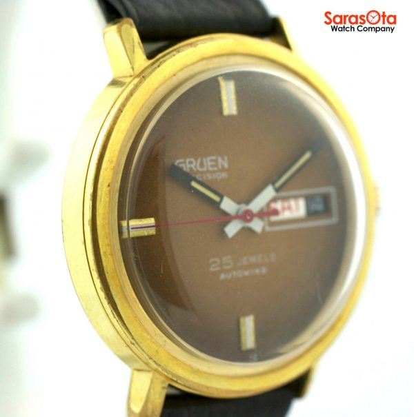 Gruen Precision 25 Jewels Automatic Gold Plated Steel Case Leather Mens Watch 124124942804 4