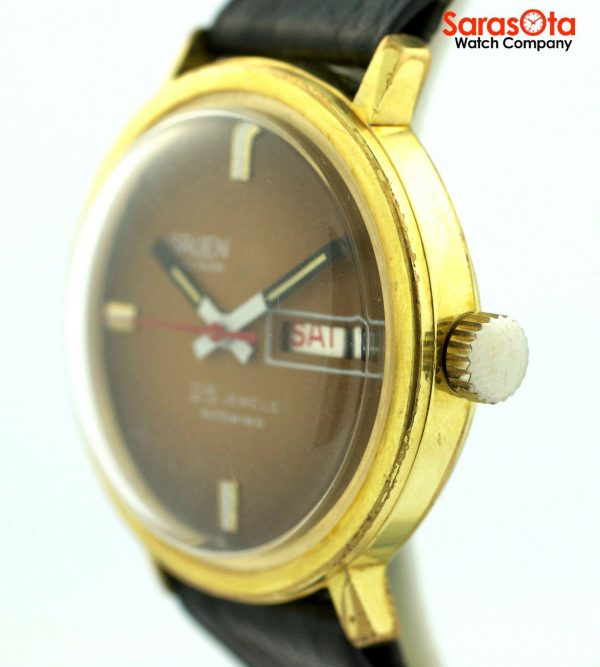 Gruen Precision 25 Jewels Automatic Gold Plated Steel Case Leather Mens Watch 124124942804 5