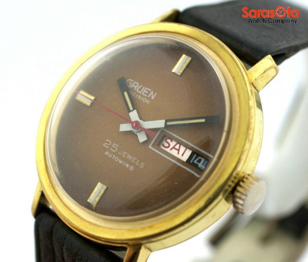 Gruen Precision 25 Jewels Automatic Gold Plated Steel Case Leather Mens Watch 124124942804 6
