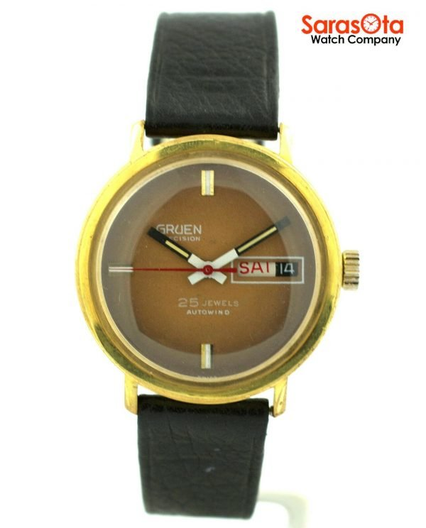Gruen Precision 25 Jewels Automatic Gold Plated Steel Case Leather Mens Watch 124124942804