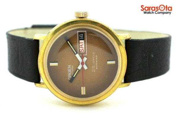 Gruen Precision 25 Jewels Automatic Gold Plated Steel Case Leather Mens Watch 124124942804 7