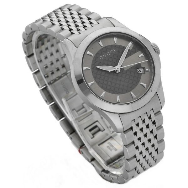 Gucci 1265 Gray G Dial Stainless Steel 27mm Quartz Womens Watch 124306171214 2