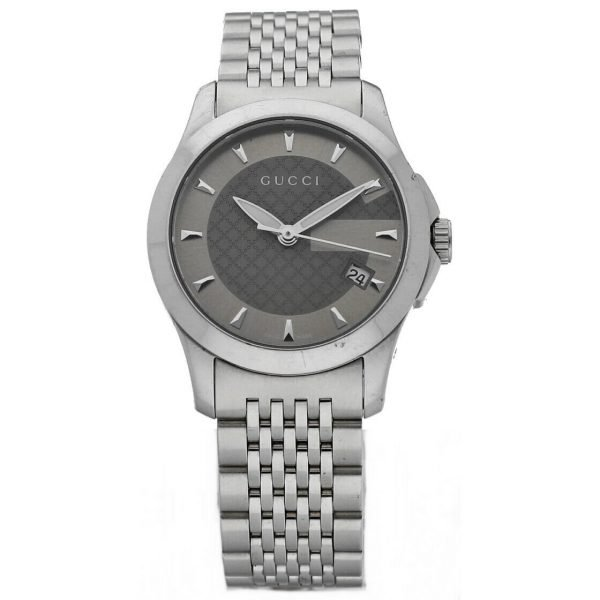 Gucci 1265 Gray G Dial Stainless Steel 27mm Quartz Womens Watch 124306171214