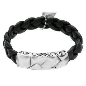 John Hardy BM99394BLXM Sterling Silver Black Leather Mens Bracelet M Size 113942004404