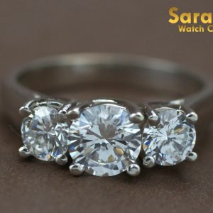 14K White Gold Tri Stone Cubic Zirconia Cocktail Womens Ring Size 775 131710000975