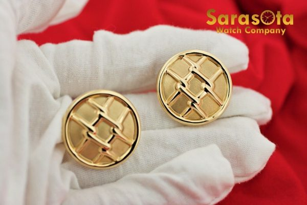 14K Yellow Gold Hollow Round Disc Grid Design French Clip Womens Earrings 112633052555 10