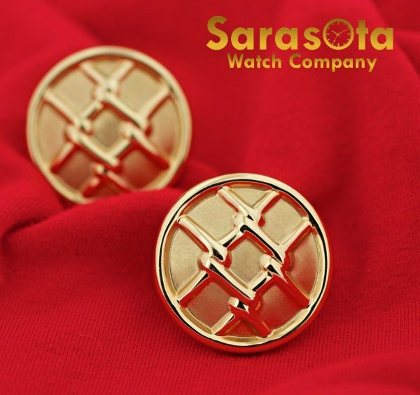 14K Yellow Gold Hollow Round Disc Grid Design French Clip Womens Earrings 112633052555 2