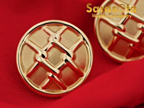 14K Yellow Gold Hollow Round Disc Grid Design French Clip Womens Earrings 112633052555 4