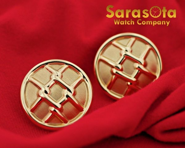 14K Yellow Gold Hollow Round Disc Grid Design French Clip Womens Earrings 112633052555