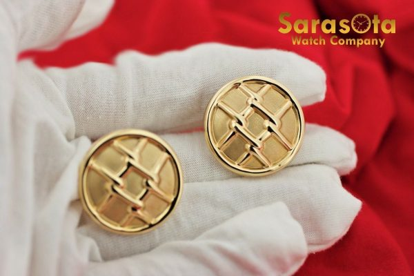 14K Yellow Gold Hollow Round Disc Grid Design French Clip Womens Earrings 112633052555 9