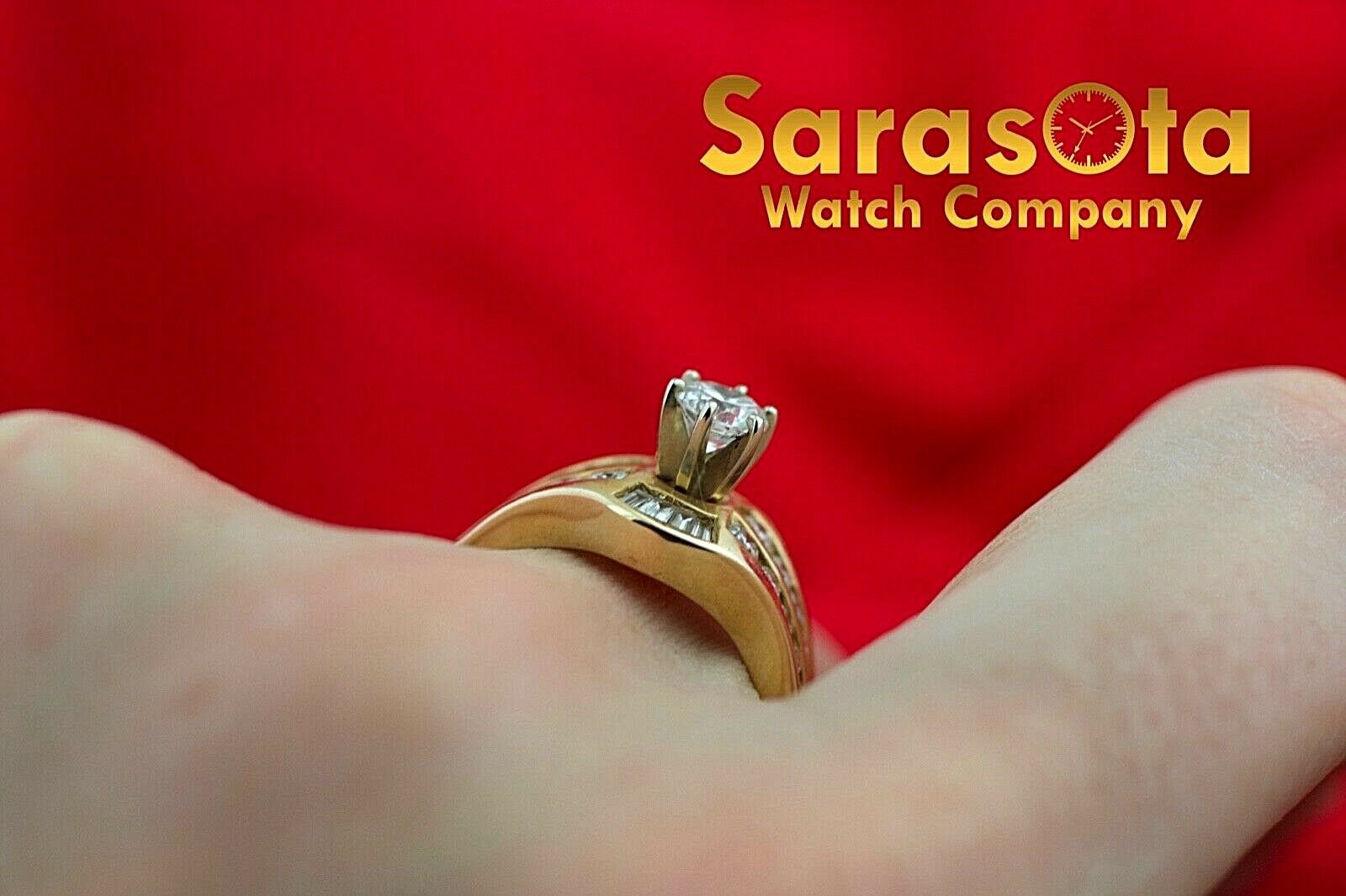 14k Yellow Gold 125ct Diamonds Solitaire with Accent Ring Size 75 132942110435 10