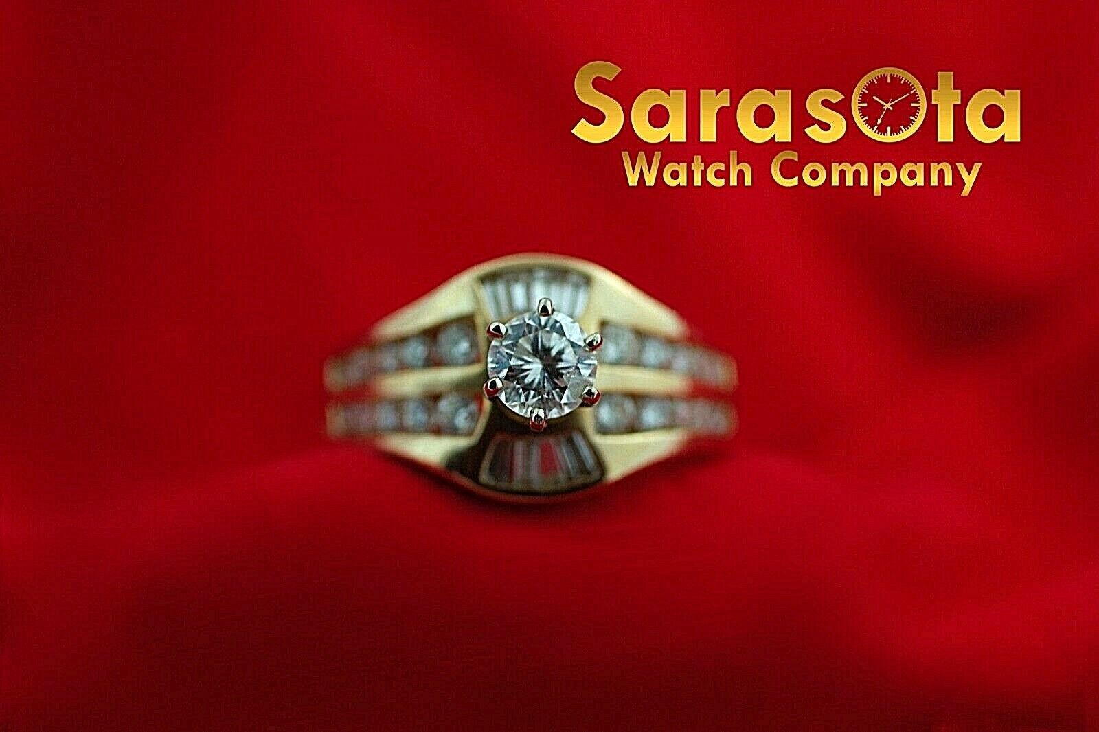14k Yellow Gold 125ct Diamonds Solitaire with Accent Ring Size 75 132942110435 2