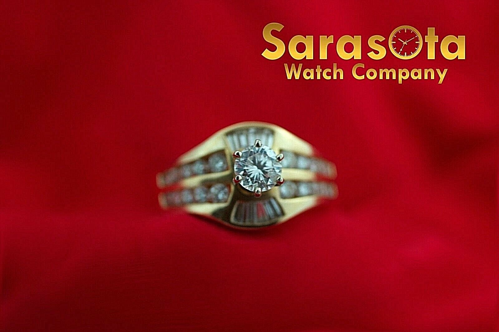 14k Yellow Gold 125ct Diamonds Solitaire with Accent Ring Size 75 132942110435 3