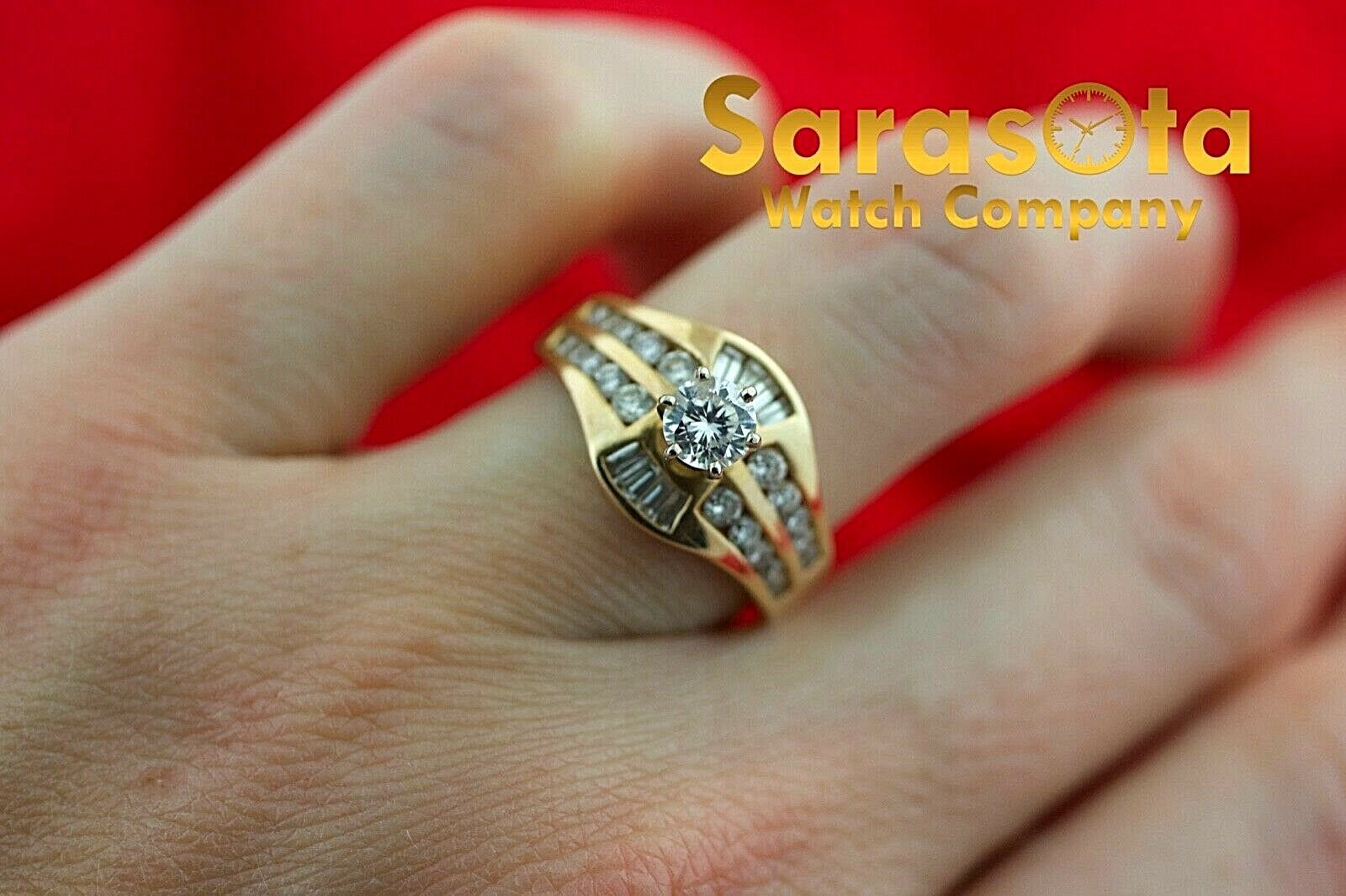 14k Yellow Gold 125ct Diamonds Solitaire with Accent Ring Size 75 132942110435 4