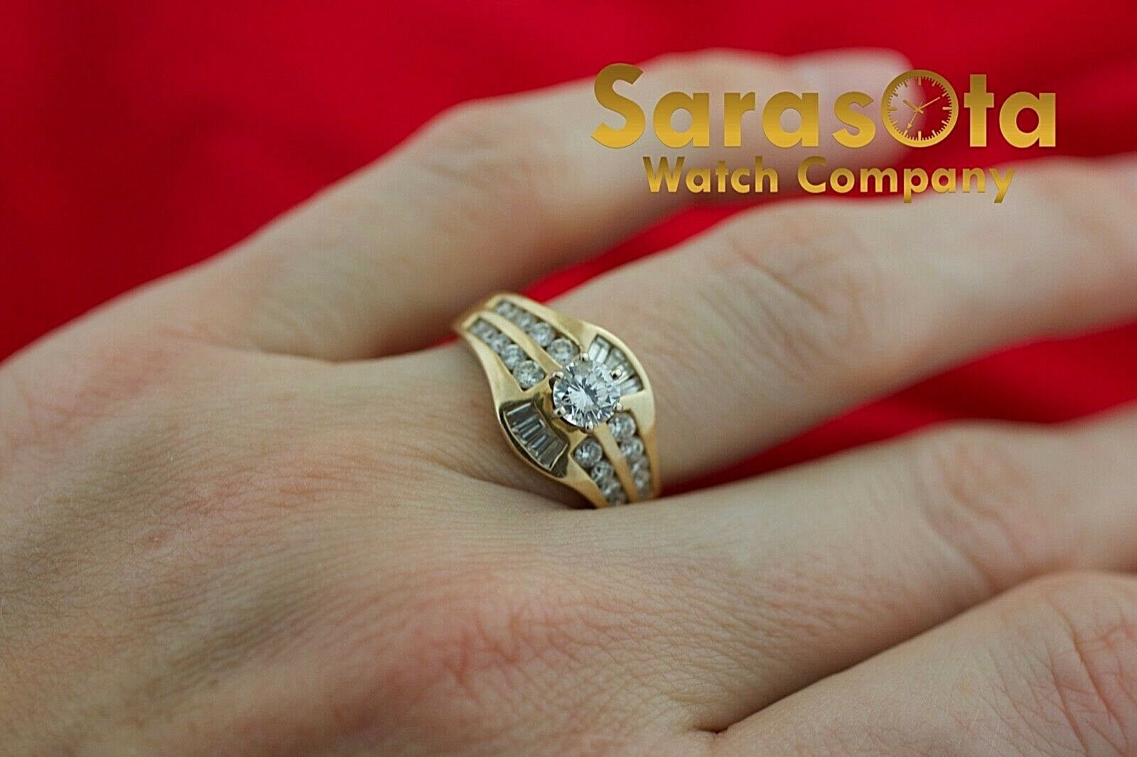 14k Yellow Gold 125ct Diamonds Solitaire with Accent Ring Size 75 132942110435 5