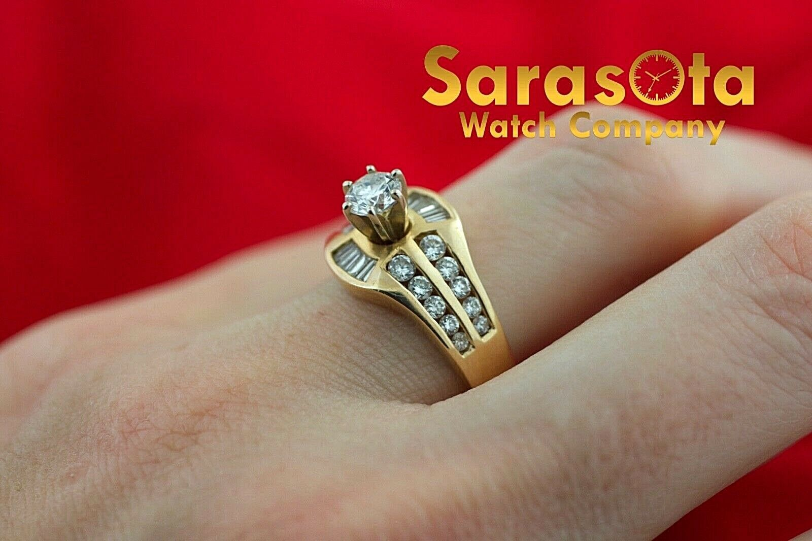 14k Yellow Gold 125ct Diamonds Solitaire with Accent Ring Size 75 132942110435 6