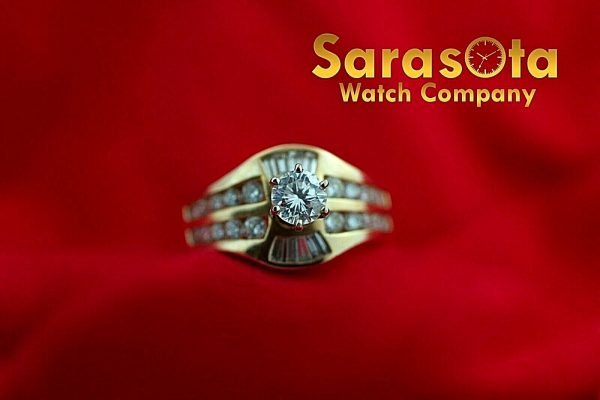 14k Yellow Gold 125ct Diamonds Solitaire with Accent Ring Size 75 132942110435