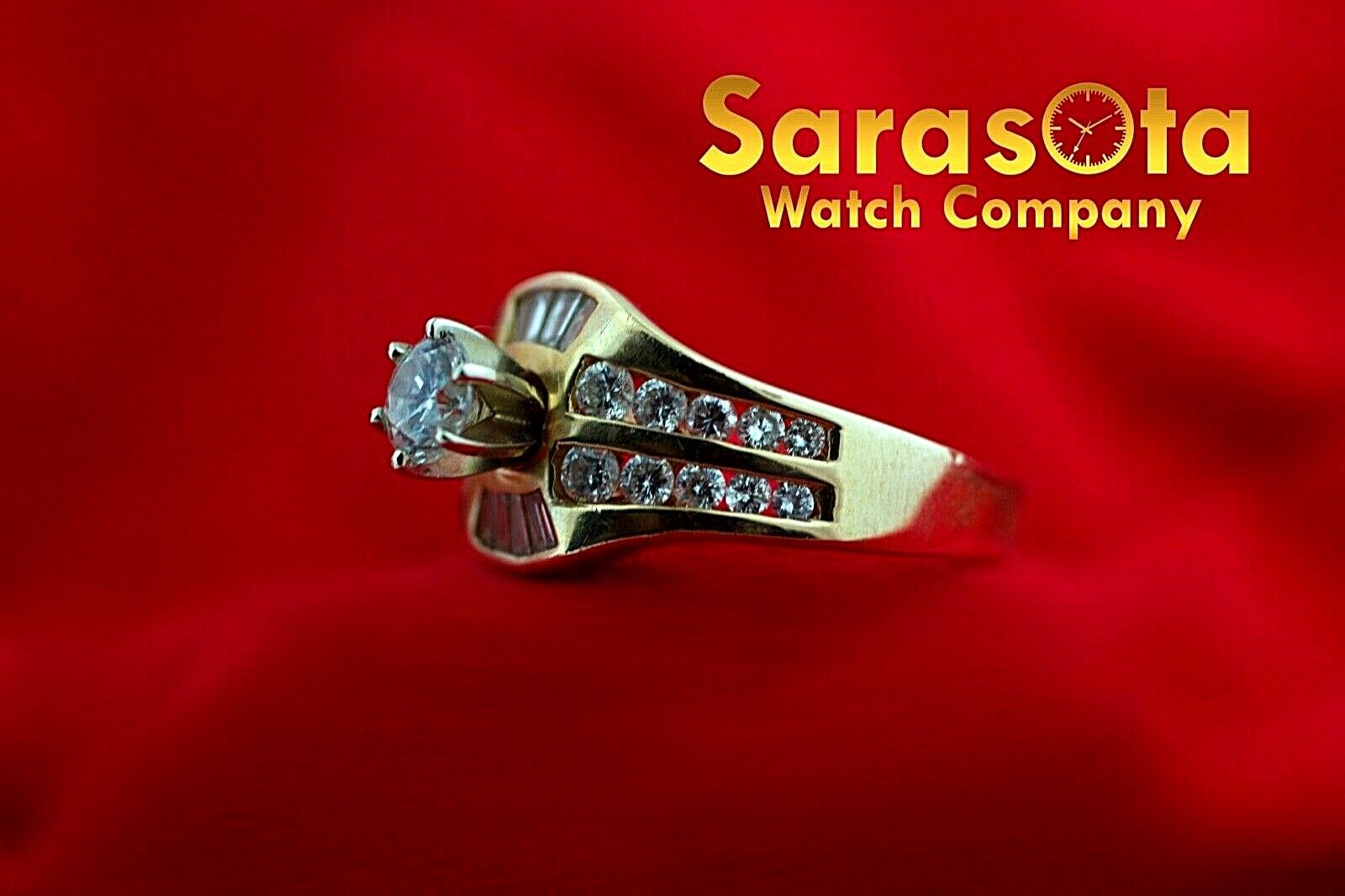 14k Yellow Gold 125ct Diamonds Solitaire with Accent Ring Size 75 132942110435 7