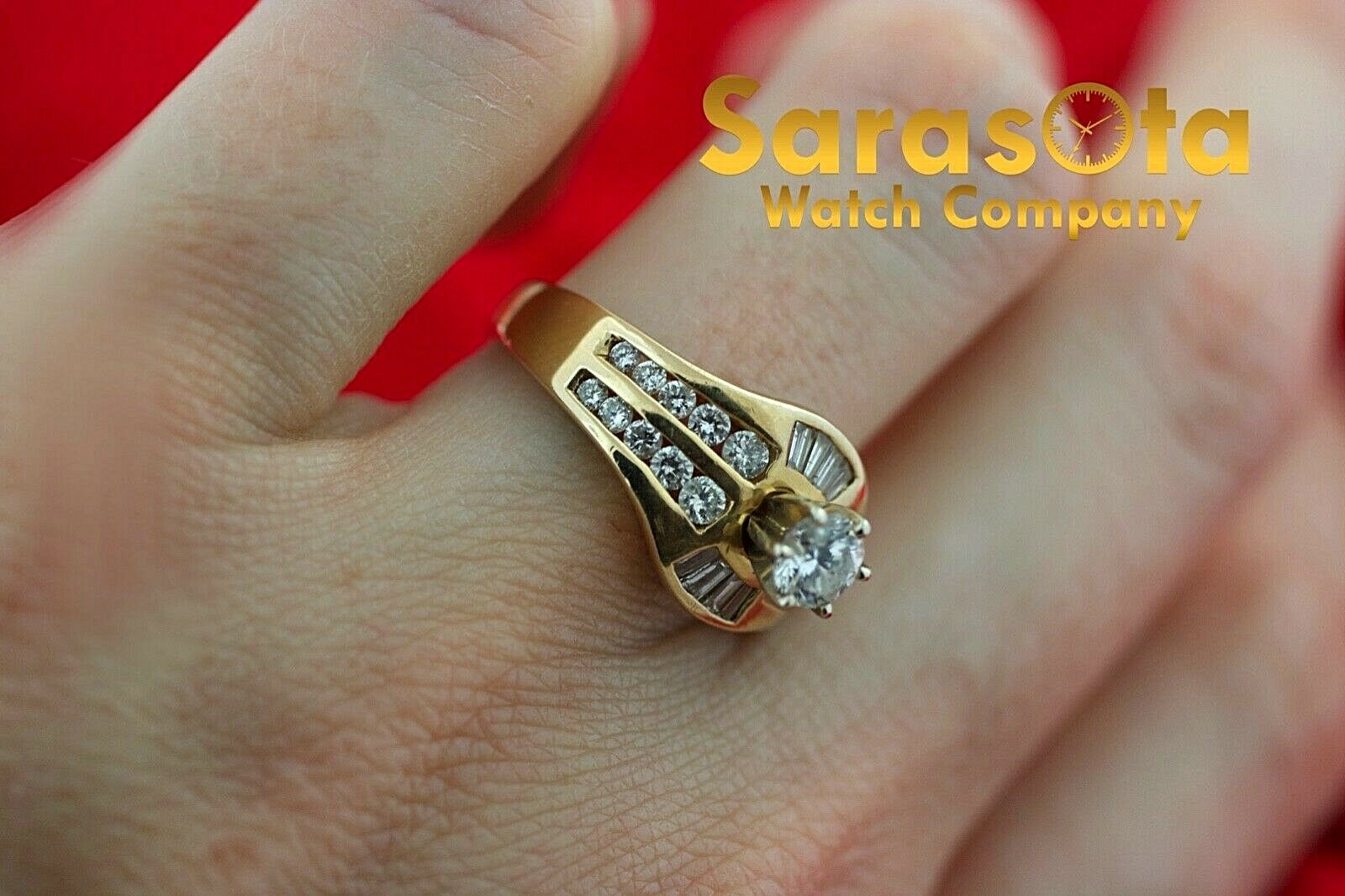 14k Yellow Gold 125ct Diamonds Solitaire with Accent Ring Size 75 132942110435 9