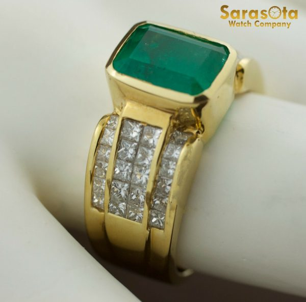 18K Yellow Gold DiamondEmerald 05Ct GVS1 Cocktail Womens Ring Size 775 111873227795 8