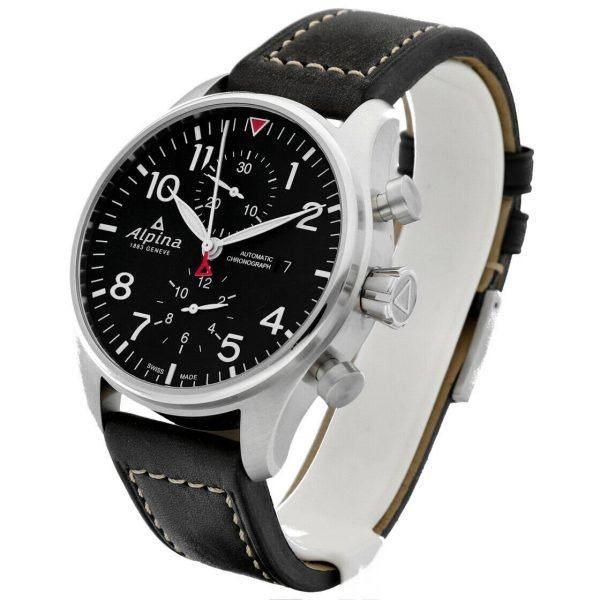 Alpina Startimer Pilot Chronograph AL 725B4S6 44mm Leather Automatic Mens Watch 133554921115 2