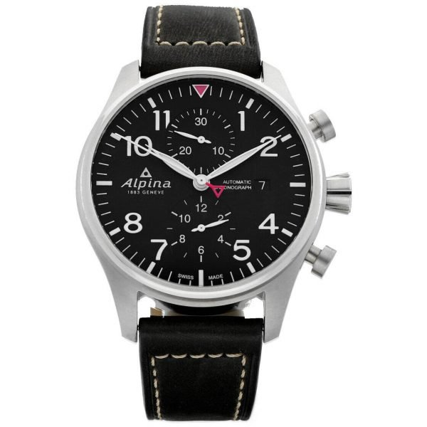 Alpina Startimer Pilot Chronograph AL 725B4S6 44mm Leather Automatic Mens Watch 133554921115