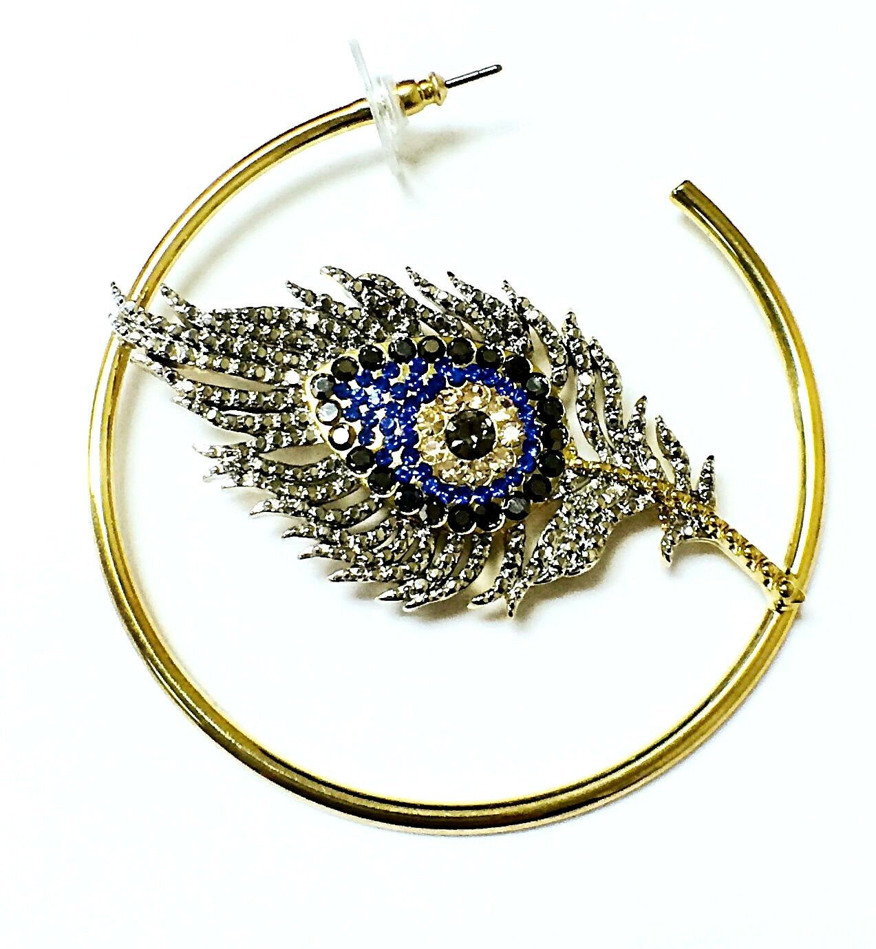Beautiful Hoop Style Eye and Feather Womens Fashion Earring 131864232095 2
