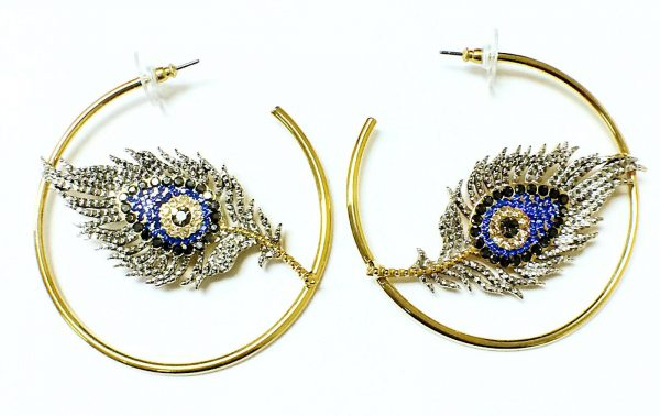 Beautiful Hoop Style Eye and Feather Womens Fashion Earring 131864232095