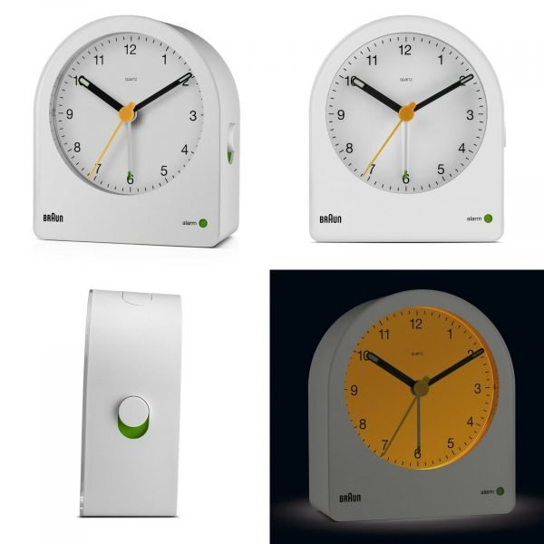Braun BN BC22W White Backlit Continuous Backlight Analog Quartz Alarm Clock 124470998785 2