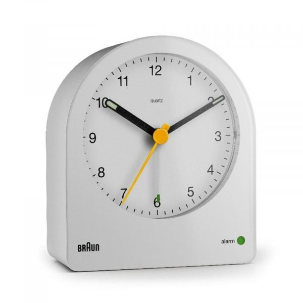 Braun BN BC22W White Backlit Continuous Backlight Analog Quartz Alarm Clock 124470998785