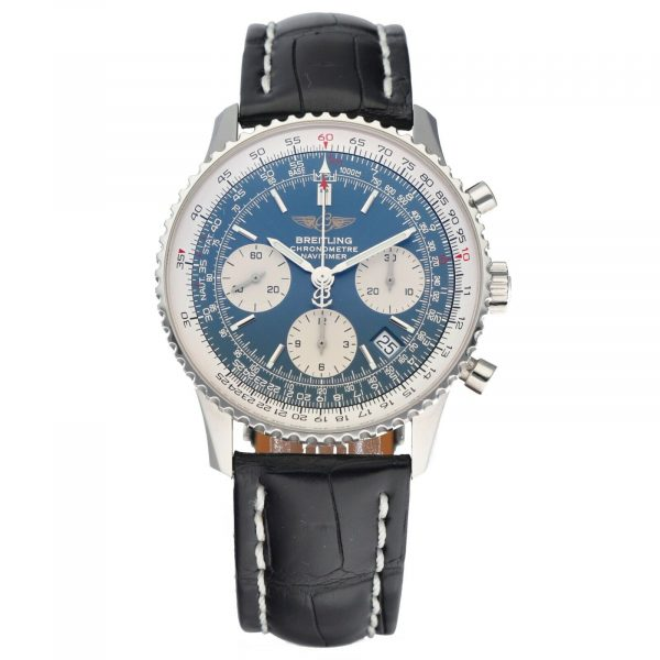 Breitling A23322 Navitimer Blue Dial 42mm Chrono Leather Automatic Mens Watch 114610560905