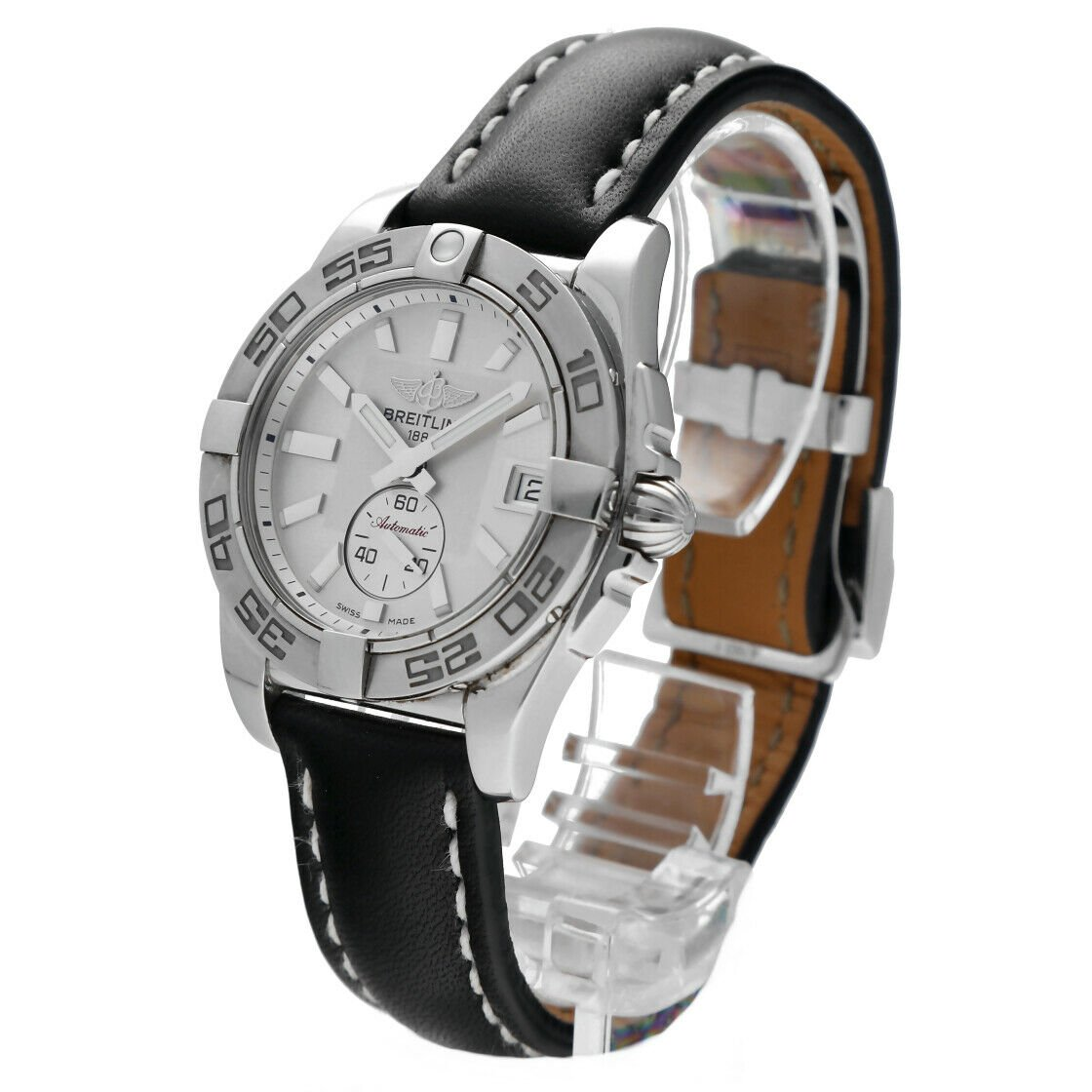 Breitling A37330 Galactic 36 Steel Silver Dial Leather Automatic Mens Watch 124367709895 2