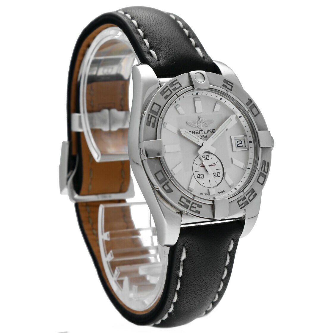 Breitling A37330 Galactic 36 Steel Silver Dial Leather Automatic Mens Watch 124367709895 4