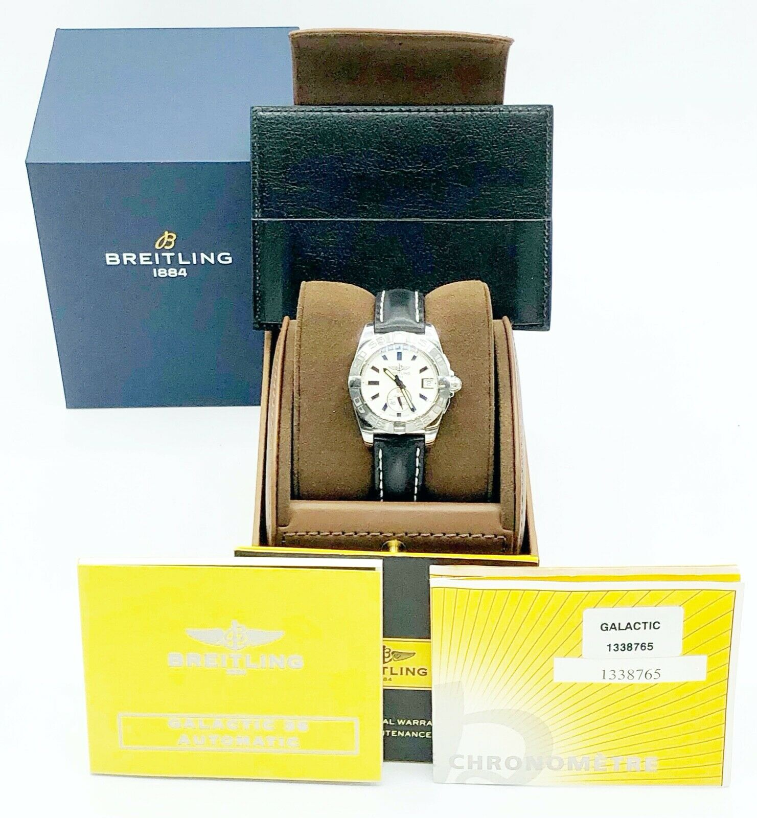 Breitling A37330 Galactic 36 Steel Silver Dial Leather Automatic Mens Watch 124367709895 6