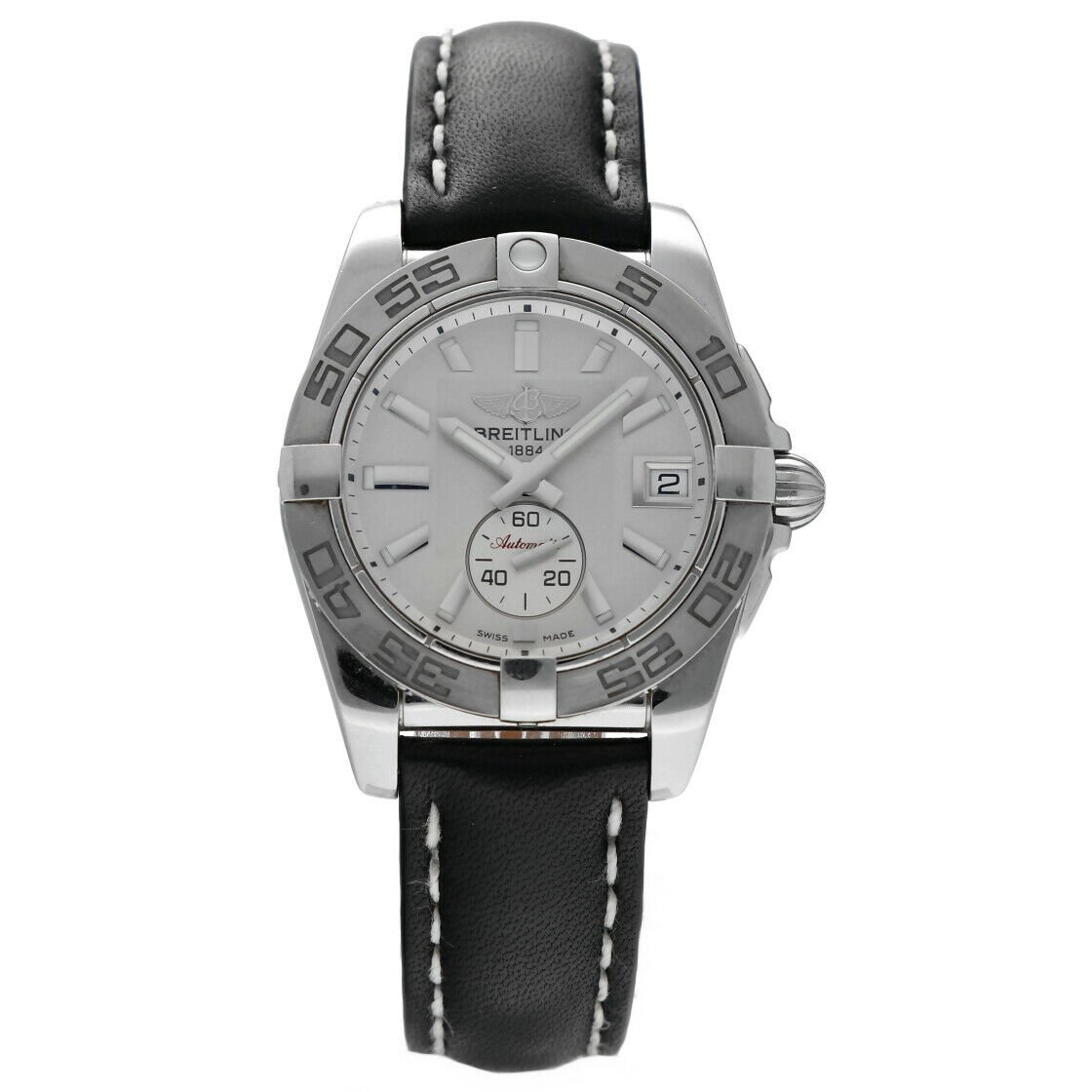 Breitling A37330 Galactic 36 Steel Silver Dial Leather Automatic Mens Watch 124367709895