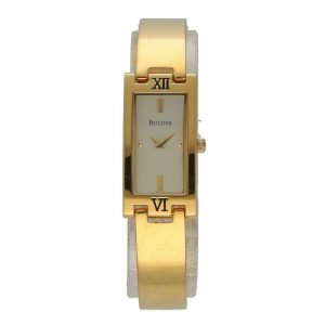 Bulova 97T46 Rectangle Gold Plated Steel 15mmx30mm Quartz Womens Watch 114661944825